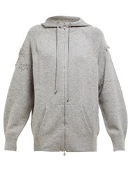 Barrie Lace Stitched Cashmere Hooded Sweatshirt Grey