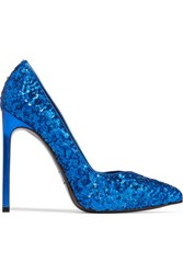 Saint Laurent Sequined Textured Leather Pumps Bright Blue