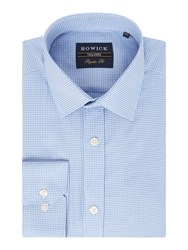 Howick Men's Tailored Parkway Textured Check Shirt Blue