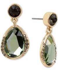 Kenneth Cole New York Gold Tone Jet Crystal And Green Stone Drop Earrings Black Diamond