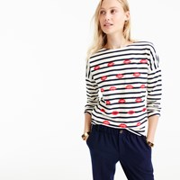 J.Crew Embroidered Lips Striped T Shirt