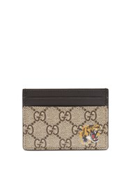 Gucci Tiger Print Leather Cardholder Brown Multi