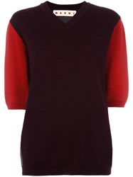 Marni Colour Block Short Sleeve Jumper Pink Purple