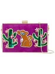 Gedebe Cactus And Monkey Patch Clutch Pink Purple