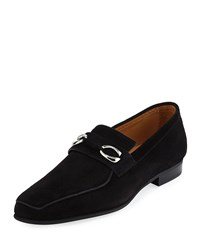 Corthay Cannes Suede Loafers With Bit Detail Black