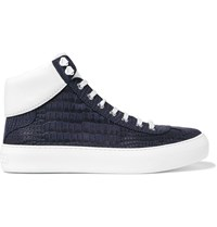 Jimmy Choo Argyle Croc Effect Leather High Top Sneakers Blue