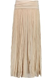 Donna Karan Broomstick Crinkled Stretch Silk Maxi Skirt Nude