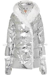 Yves Salomon Hooded Shearling Trimmed Quilted Metallic Shell Down Coat Silver
