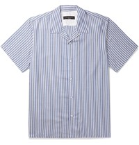 Rag And Bone Avery Camp Collar Striped Voile Shirt Blue