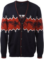Lanvin Knitted Button Up Cardigan Blue