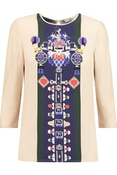 Mary Katrantzou Spellbound Printed Silk Crepe De Chine Top