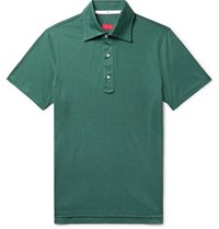 Isaia Silk And Cotton Blend Jersey Polo Shirt Emerald