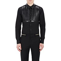 Givenchy Men's Poplin And Leather Shirt Black