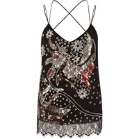 River Island Womens Black Sequin Bird Strappy Cami Top