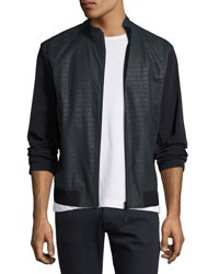 Armani Collezioni Croc Embossed Perforated Leather Jacket Navy Blue