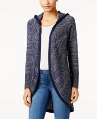 Styleandco. Style Co. Pointelle Hooded Cardigan Only At Macy's Industrial Blue