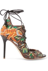 Malone Souliers Savannah Embroidered Canvas Sandals Dark Brown