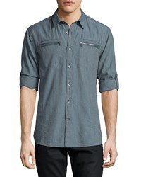 John Varvatos Star Usa Double Zip Pocket Woven Shirt Blue