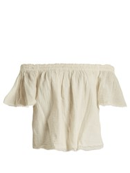 Velvet By Graham And Spencer X Kirsty Hume Begonia Cotton Gauze Top Cream