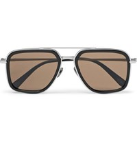 Brioni Aviator Style Acetate And Brushed Silver Tone Sunglasses Black