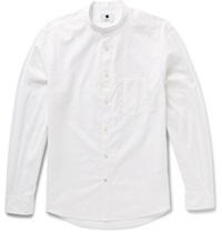 Nn.07 Devon Slim Fit Grandad Collar Cotton Oxford Shirt White