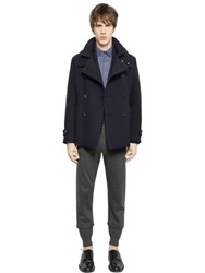 Emporio Armani Wool Blend Knit Effect Peacoat