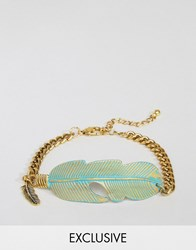 Designb London Feather Chain Bracelet In Gold Gold