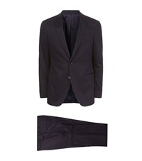 Boss Cotton Stretch Suit Male Navy