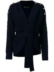 Versace Ribbed Button Cardigan Blue