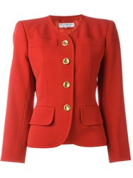 Yves Saint Laurent Vintage Collarless Blazer Red