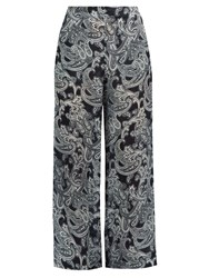 Acne Studios Tennessee Paisley Print Wide Leg Trousers Navy Print
