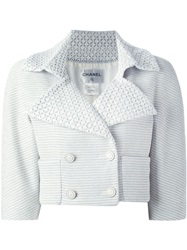 Chanel Vintage Textured Cropped Jacket White