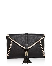 Milly Astor Contrast Whipstitch Clutch Black Nude Gold