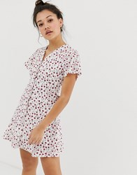 Daisy Street Button Down Tea Dress In Vintage Floral Print White