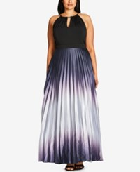 City Chic Trendy Plus Size Pleated Ombre A Line Gown Grey Smoke