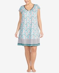 Ellen Tracy Plus Size Printed Ruffle Sleeve Nightgown Seafoam Print