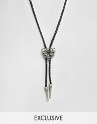 Reclaimed Vintage Necktie Necklace With Skull Pendant Silver