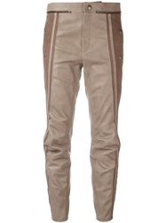 Chloe Leather Biker Trousers Nude Neutrals