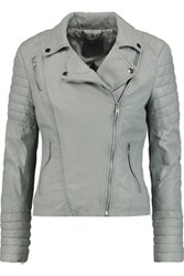 Muubaa Leather Biker Jacket Gray Green