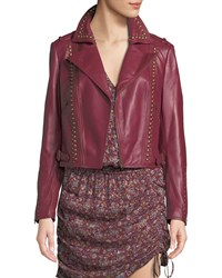 Ramy Brook Yomo Studded Leather Moto Jacket Red Brown