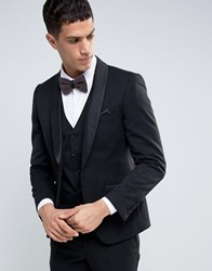 French Connection Black Tuxedo Slim Fit Suit Jacket Black