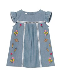Gucci Floral Embroidered Chambray Shift Dress Denim Blue Size 12 36 Months Size 36 Months