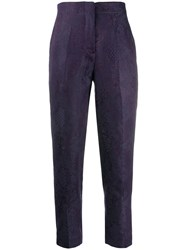 Isabel Benenato Cropped Patterned Trousers Purple