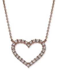 Giani Bernini Cubic Zirconia Heart Pendant Necklace In 18K Rose Gold Plated Sterling Silver Only At Macy's