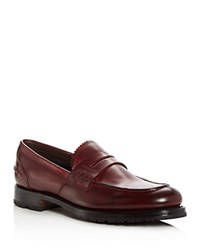 Canali Men's Leather Penny Loafers Dark Red