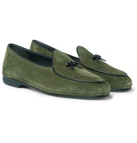 Rubinacci Marphy Leather Trimmed Suede Loafers Green