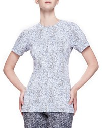 Lela Rose Reversible Short Sleeve Tweed Top Navy Ivory