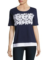 Ivanka Trump Lace Trimmed Tee Navy White