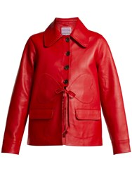 Alexachung Heart Patch Leather Jacket Red