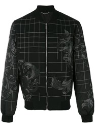 Versace Baroque Embroidered Bomber Jacket Men Cotton Lamb Skin Polyester 50 Black